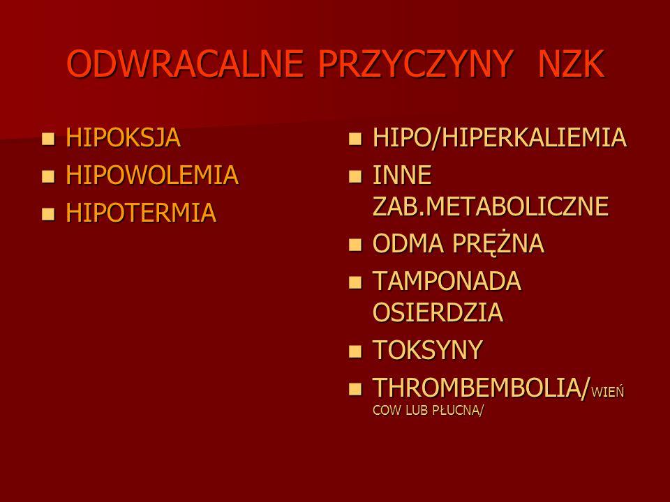 ODWRACALNE PRZYCZYNY NZK HIPOKSJA HIPOKSJA HIPOWOLEMIA HIPOWOLEMIA HIPOTERMIA HIPOTERMIA HIPO/HIPERKALIEMIA HIPO/HIPERKALIEMIA INNE ZAB.METABOLICZNE I
