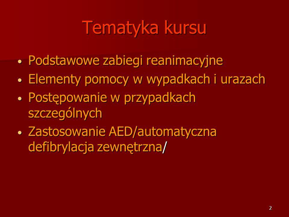 2 Tematyka kursu Podstawowe zabiegi reanimacyjne Podstawowe zabiegi reanimacyjne Elementy pomocy w wypadkach i urazach Elementy pomocy w wypadkach i u
