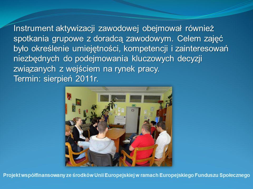 Instrument aktywizacji zawodowej obejmował również spotkania grupowe z doradcą zawodowym. Celem zajęć było określenie umiejętności, kompetencji i zain