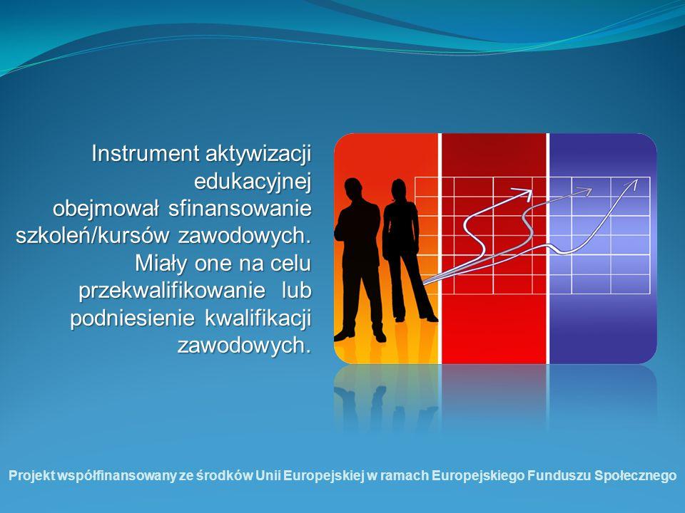 Instrument aktywizacji edukacyjnej obejmował sfinansowanie szkoleń/kursów zawodowych. Miały one na celu przekwalifikowanie lub podniesienie kwalifikac