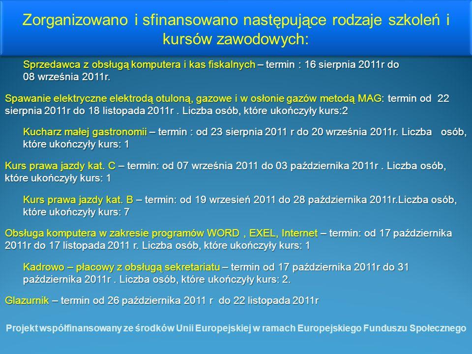 Glazurnik – termin od 26 października 2011 r do 22 listopada 2011r Projekt współfinansowany ze środków Unii Europejskiej w ramach Europejskiego Fundus