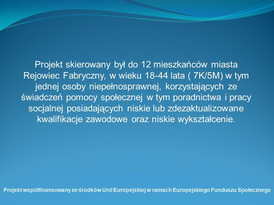 Projekt skierowany był do 12 mieszkańców miasta Rejowiec Fabryczny, w wieku 18-44 lata ( 7K/5M) w tym jednej osoby niepełnosprawnej, korzystających ze