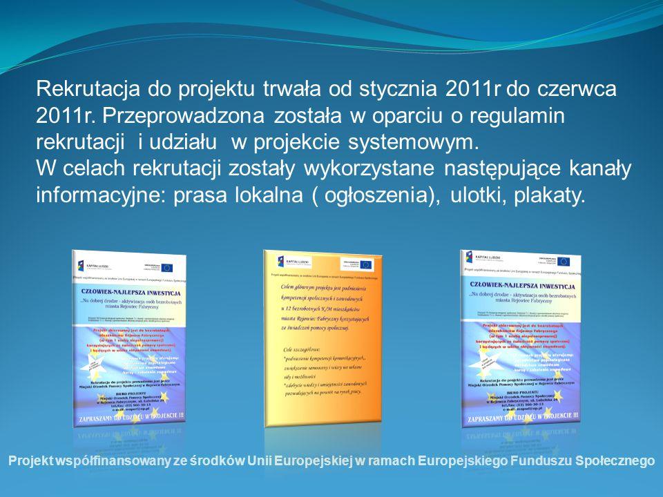 Rekrutacja do projektu trwała od stycznia 2011r do czerwca 2011r. Przeprowadzona została w oparciu o regulamin rekrutacji i udziału w projekcie system