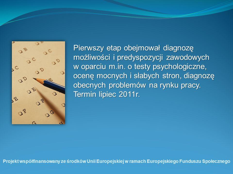 Pierwszy etap obejmował diagnozę możliwości i predyspozycji zawodowych w oparciu m.in. o testy psychologiczne, ocenę mocnych i słabych stron, diagnozę