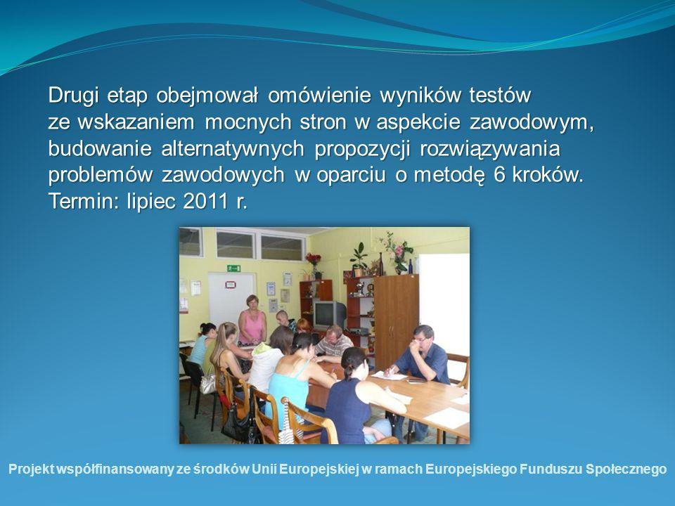 Drugi etap obejmował omówienie wyników testów ze wskazaniem mocnych stron w aspekcie zawodowym, budowanie alternatywnych propozycji rozwiązywania prob