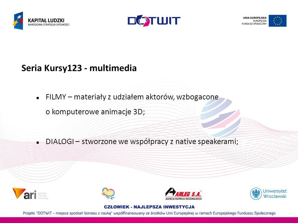Seria Kursy123 - multimedia FILMY – materiały z udziałem aktorów, wzbogacone o komputerowe animacje 3D; DIALOGI – stworzone we współpracy z native speakerami;