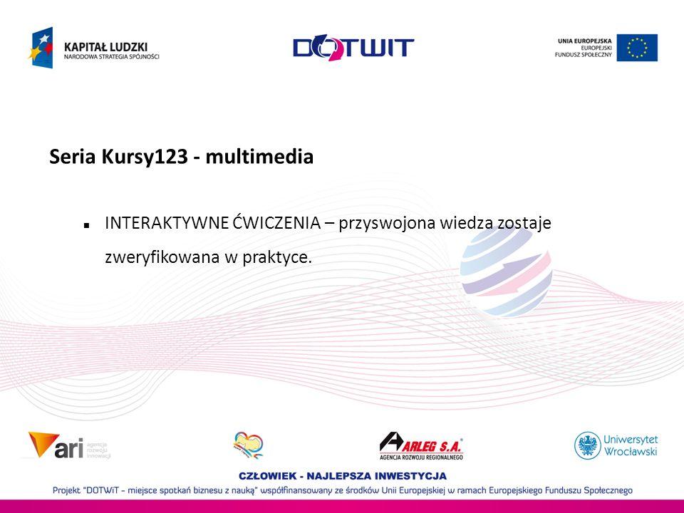 Seria Kursy123 - multimedia INTERAKTYWNE ĆWICZENIA – przyswojona wiedza zostaje zweryfikowana w praktyce.