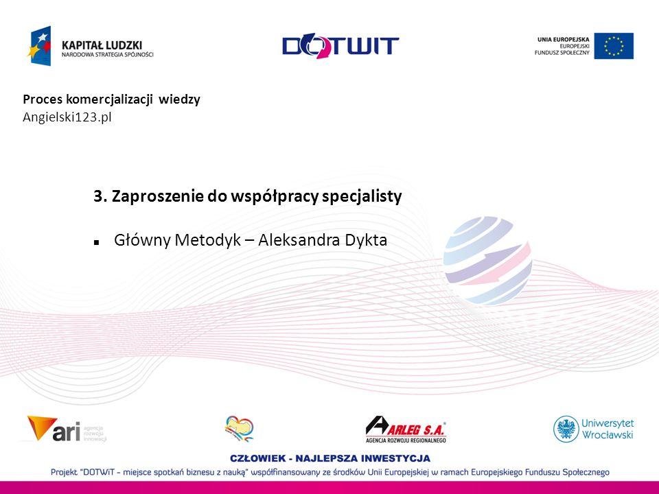 Proces komercjalizacji wiedzy Angielski123.pl 3. Zaproszenie do współpracy specjalisty Główny Metodyk – Aleksandra Dykta