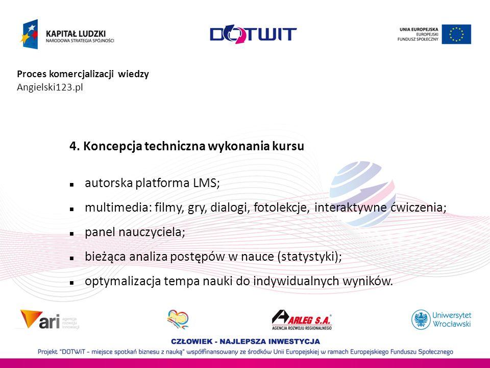 Proces komercjalizacji wiedzy Angielski123.pl 4. Koncepcja techniczna wykonania kursu autorska platforma LMS; multimedia: filmy, gry, dialogi, fotolek