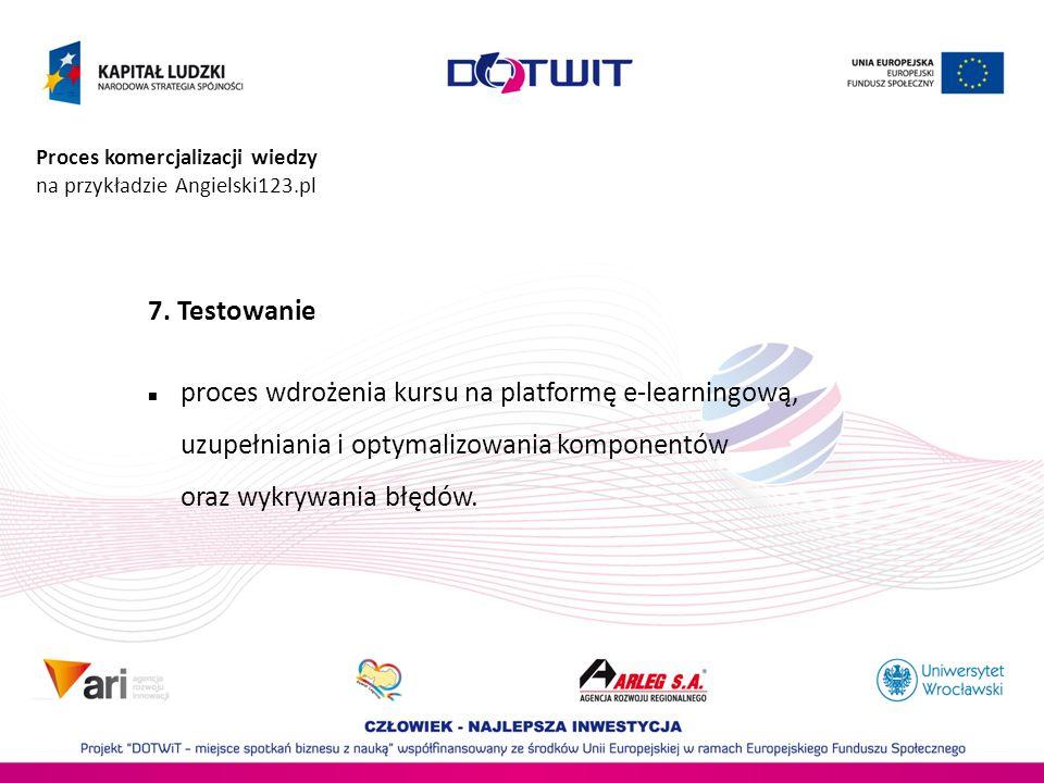 Proces komercjalizacji wiedzy na przykładzie Angielski123.pl 7. Testowanie proces wdrożenia kursu na platformę e-learningową, uzupełniania i optymaliz