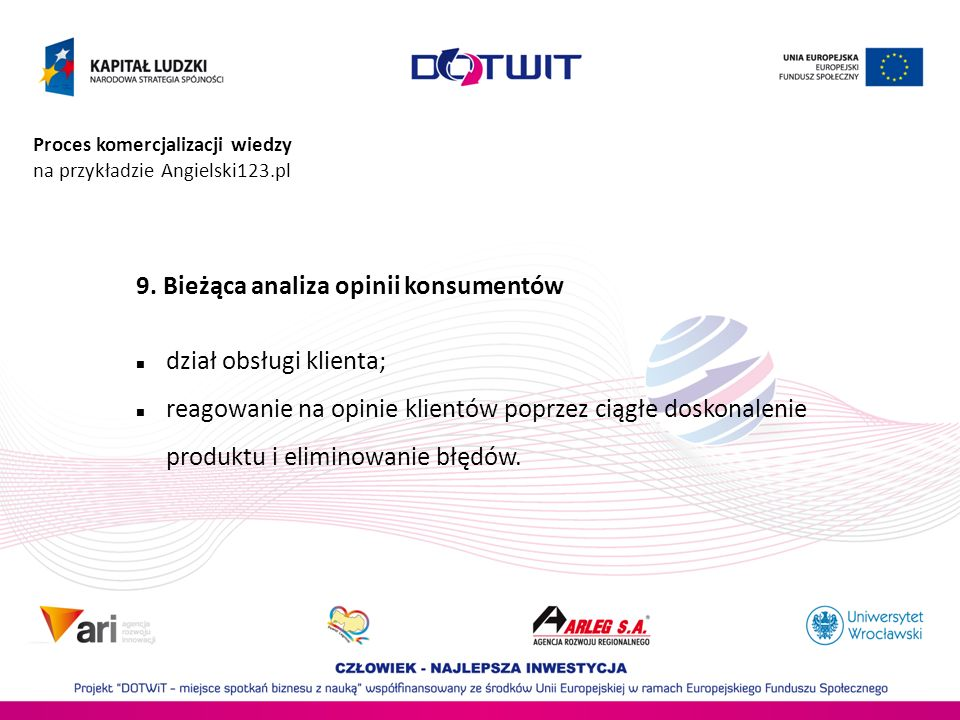 Proces komercjalizacji wiedzy na przykładzie Angielski123.pl 9. Bieżąca analiza opinii konsumentów dział obsługi klienta; reagowanie na opinie klientó