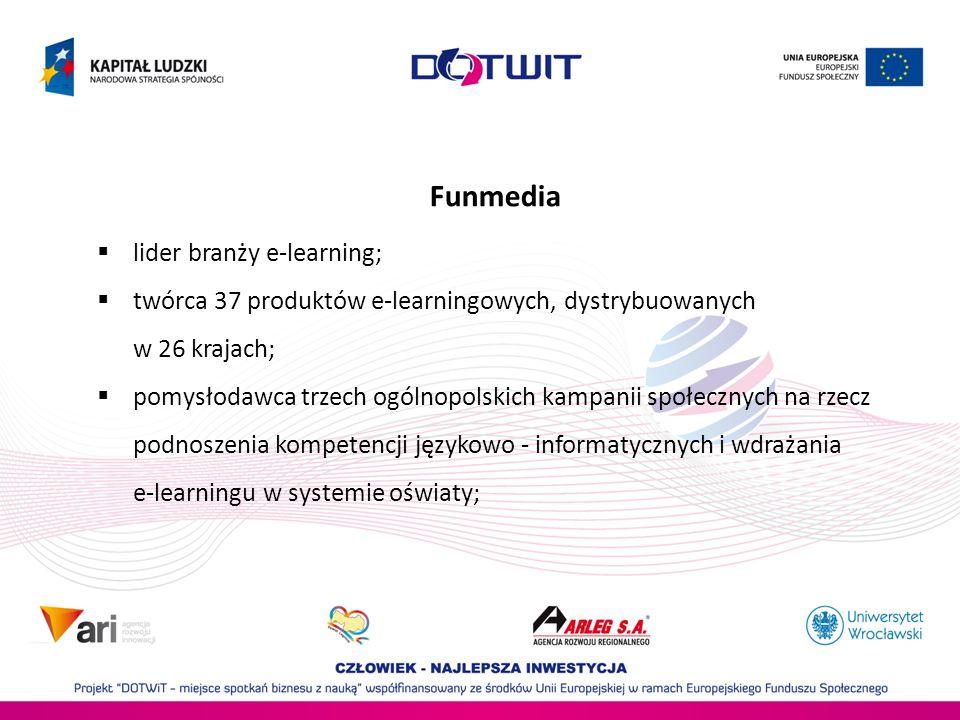 lider branży e-learning; twórca 37 produktów e-learningowych, dystrybuowanych w 26 krajach; pomysłodawca trzech ogólnopolskich kampanii społecznych na rzecz podnoszenia kompetencji językowo - informatycznych i wdrażania e-learningu w systemie oświaty; Funmedia