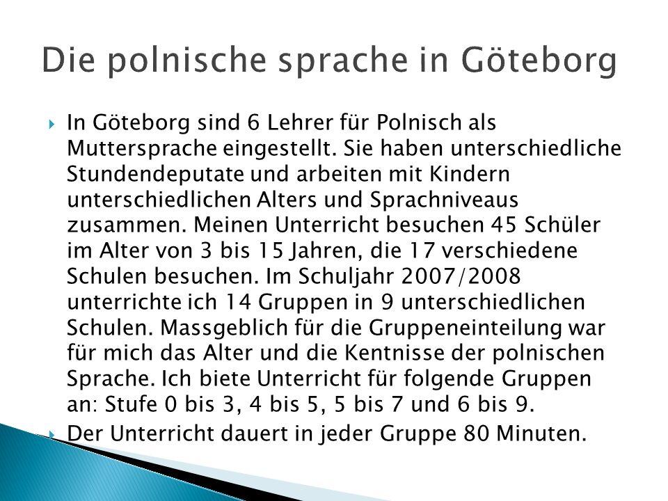 In Göteborg sind 6 Lehrer für Polnisch als Muttersprache eingestellt. Sie haben unterschiedliche Stundendeputate und arbeiten mit Kindern unterschiedl