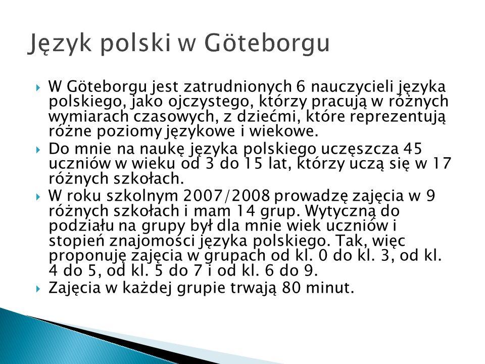 W Göteborgu jest zatrudnionych 6 nauczycieli języka polskiego, jako ojczystego, którzy pracują w różnych wymiarach czasowych, z dziećmi, które reprezentują różne poziomy językowe i wiekowe.