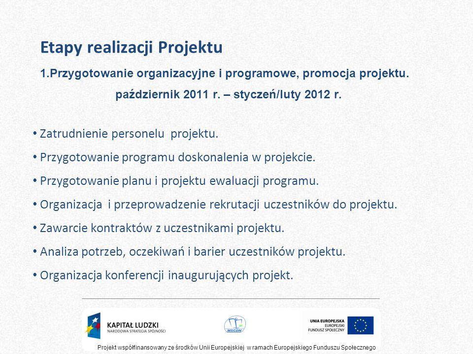 Etapy realizacji Projektu 1.Przygotowanie organizacyjne i programowe, promocja projektu. październik 2011 r. – styczeń/luty 2012 r. Projekt współfinan