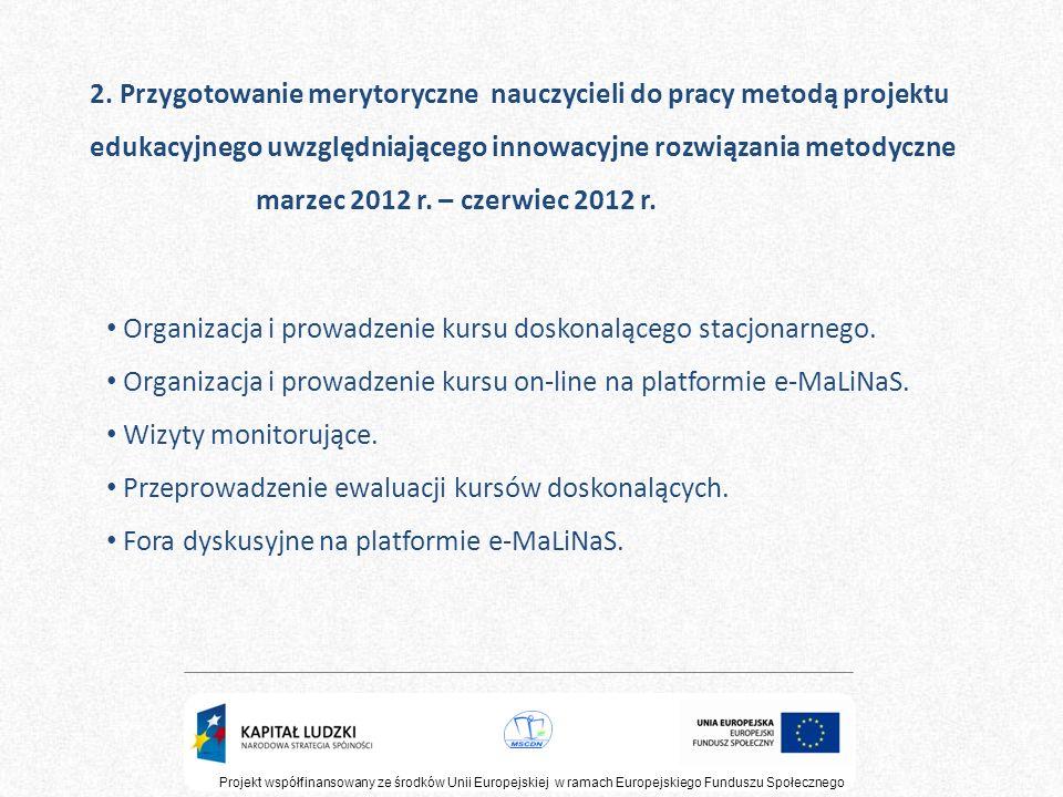 2. Przygotowanie merytoryczne nauczycieli do pracy metodą projektu edukacyjnego uwzględniającego innowacyjne rozwiązania metodyczne marzec 2012 r. – c
