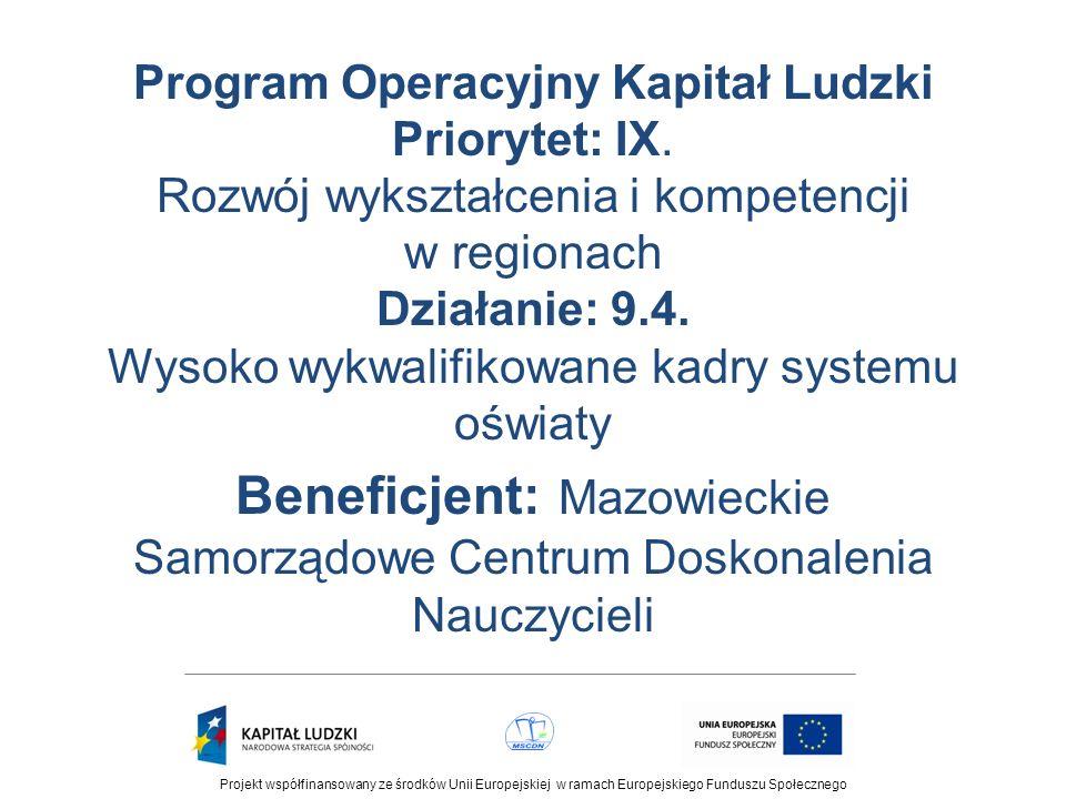 Projekt współfinansowany ze środków Unii Europejskiej w ramach Europejskiego Funduszu Społecznego Formy doskonalenia Wychodząc naprzeciw zróżnicowanym potrzebom i oczekiwaniom nauczycieli projekt uwzględnia różnorodne formy doskonalenia zawodowego, takie jak: konferencje, seminaria, kursy stacjonarne i on-line.