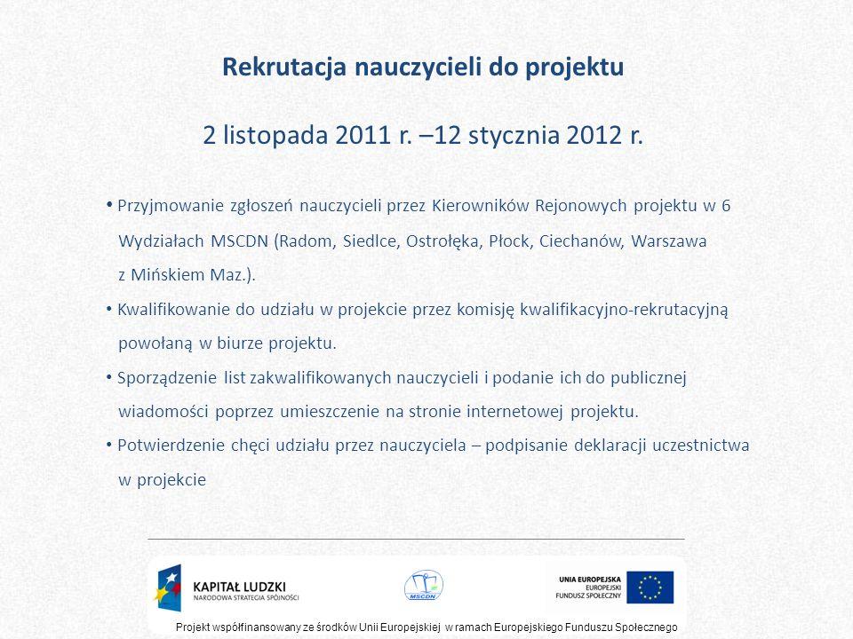 Projekt współfinansowany ze środków Unii Europejskiej w ramach Europejskiego Funduszu Społecznego Rekrutacja nauczycieli do projektu 2 listopada 2011