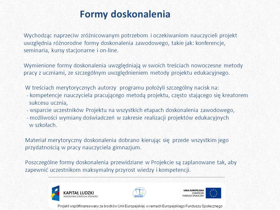 Projekt współfinansowany ze środków Unii Europejskiej w ramach Europejskiego Funduszu Społecznego Formy doskonalenia Wychodząc naprzeciw zróżnicowanym