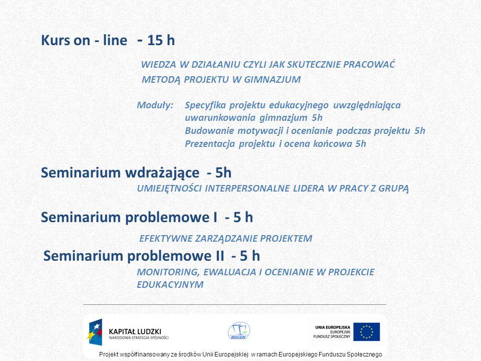 Projekt współfinansowany ze środków Unii Europejskiej w ramach Europejskiego Funduszu Społecznego Kurs on - line - 15 h WIEDZA W DZIAŁANIU CZYLI JAK S