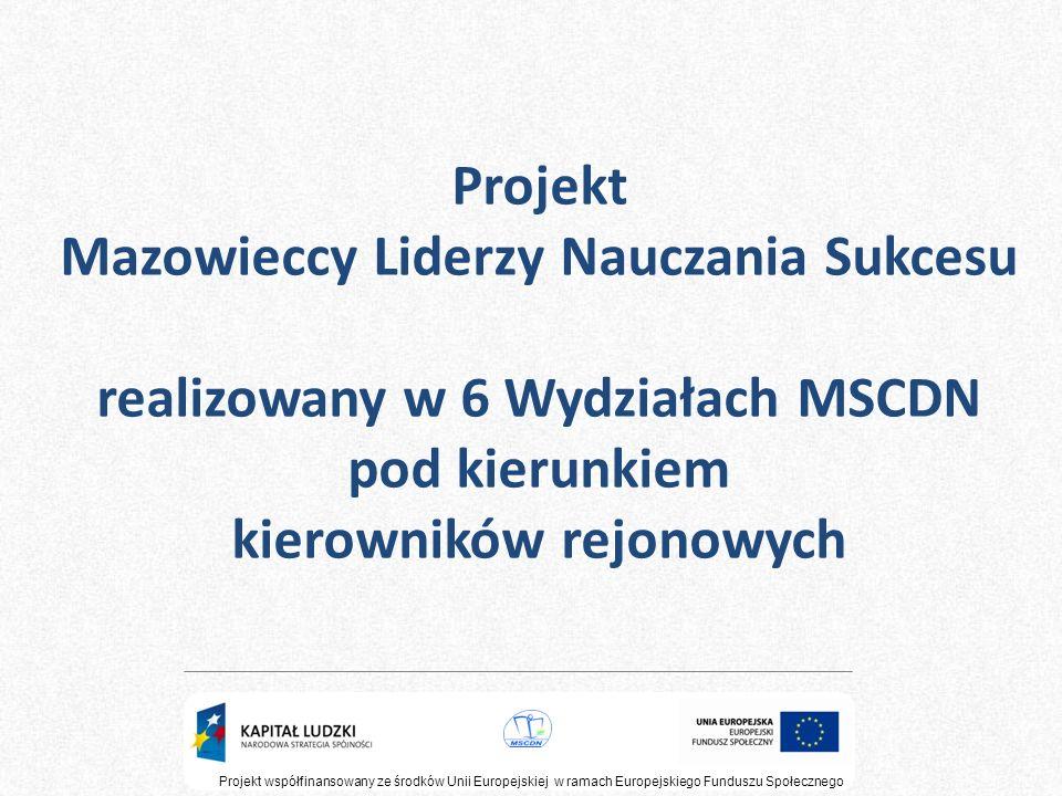 Projekt współfinansowany ze środków Unii Europejskiej w ramach Europejskiego Funduszu Społecznego Seminarium podsumowujące - 5h PROJEKT EDUKACYJNY A PROMOCJA SZKOŁY Konferencja podsumowująca - 5h PROJEKT EDUKACYJNY - STRATEGIA NA MIARĘ CZASÓW Mamy nadzieję, że ten program doskonalenia, będący integralną częścią projektu Mazowieccy Liderzy Nauczania Sukcesu, zapewni wzrost kompetencji zawodowych nauczycieli gimnazjów na Mazowszu i uczyni ich rzeczywistymi liderami nauczania sukcesu.