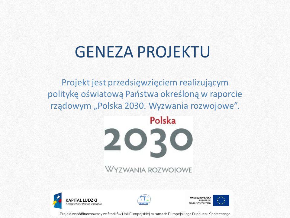 GENEZA PROJEKTU Projekt jest przedsięwzięciem realizującym politykę oświatową Państwa określoną w raporcie rządowym Polska 2030. Wyzwania rozwojowe. P