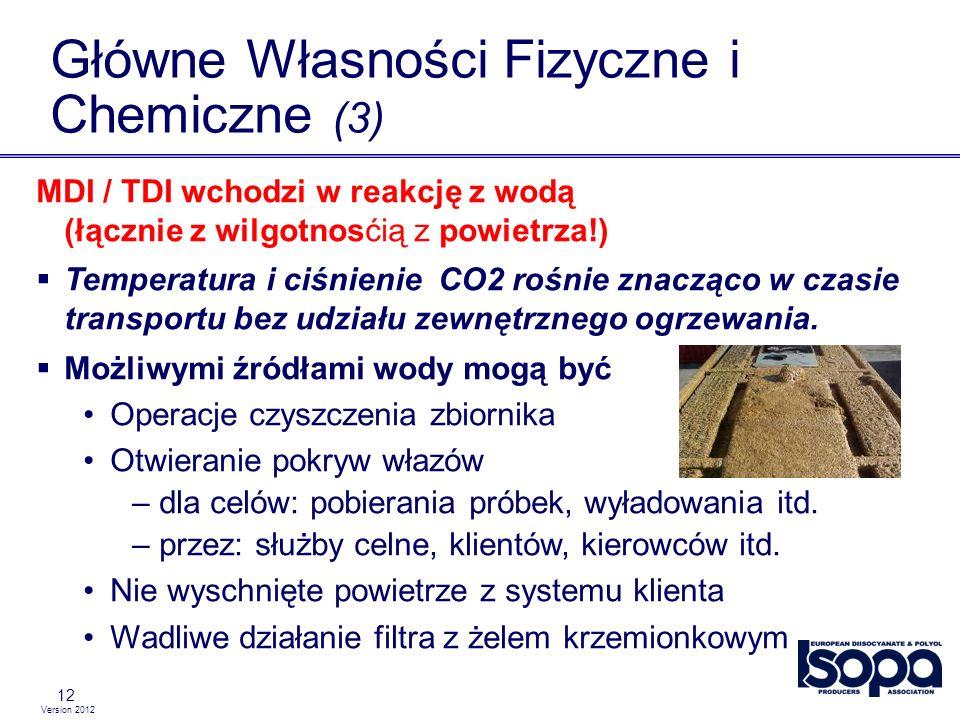 Version 2012 12 Główne Własności Fizyczne i Chemiczne (3) MDI / TDI wchodzi w reakcję z wodą (łącznie z wilgotnosćią z powietrza!) Temperatura i ciśni