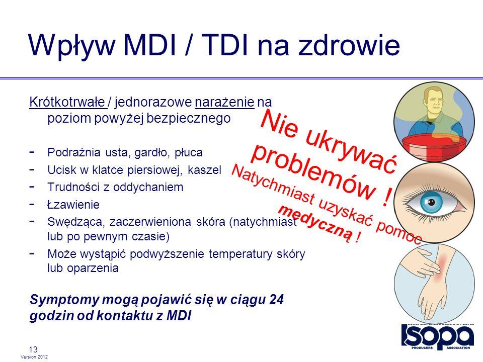 Version 2012 Wpływ MDI / TDI na zdrowie 13 Krótkotrwałe / jednorazowe narażenie na poziom powyżej bezpiecznego - Podrażnia usta, gardło, płuca - Ucisk
