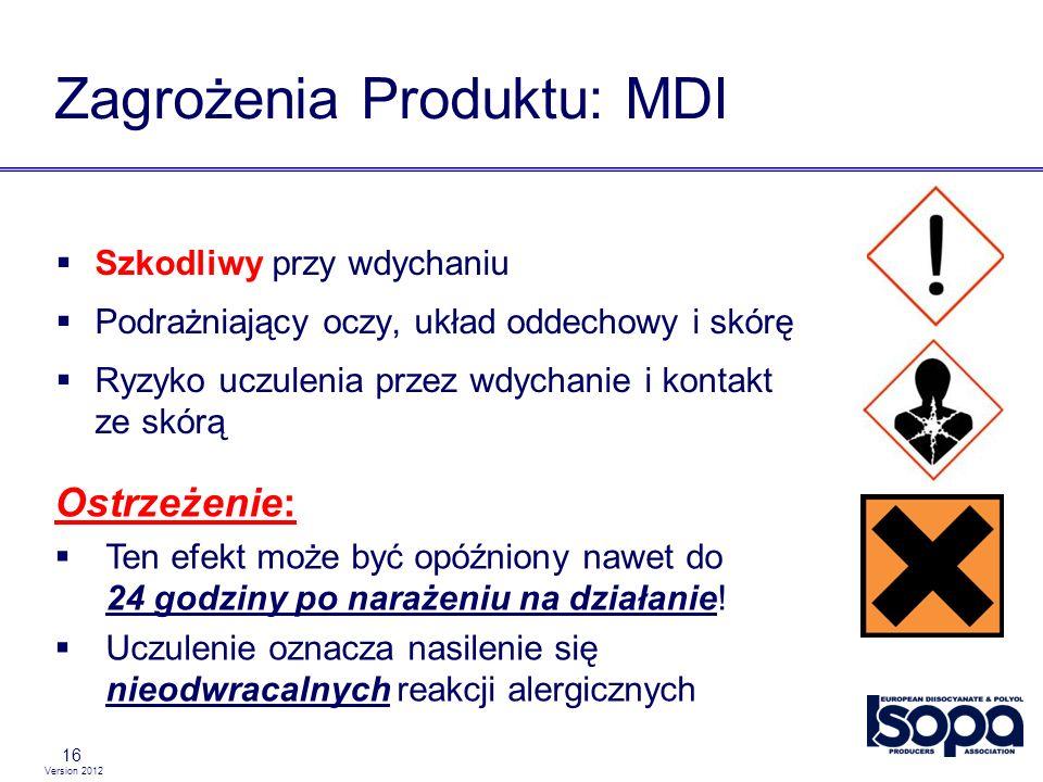 Version 2012 16 Zagrożenia Produktu: MDI Szkodliwy przy wdychaniu Podrażniający oczy, układ oddechowy i skórę Ryzyko uczulenia przez wdychanie i konta