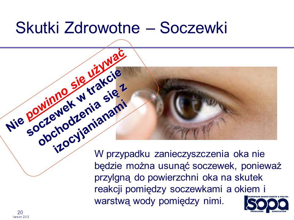 Version 2012 20 Skutki Zdrowotne – Soczewki W przypadku zanieczyszczenia oka nie będzie można usunąć soczewek, ponieważ przylgną do powierzchni oka na
