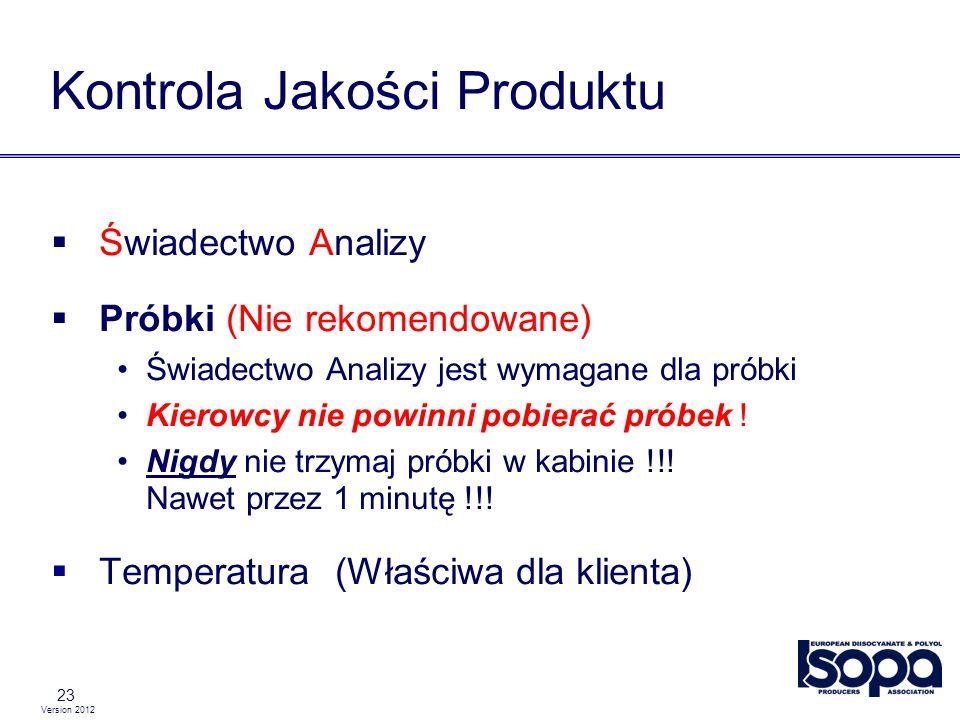 Version 2012 23 Kontrola Jakości Produktu Świadectwo Analizy Próbki (Nie rekomendowane) Świadectwo Analizy jest wymagane dla próbki Kierowcy nie powin
