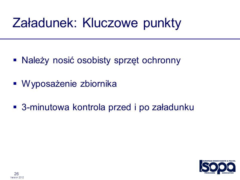 Version 2012 26 Załadunek: Kluczowe punkty Należy nosić osobisty sprzęt ochronny Wyposażenie zbiornika 3-minutowa kontrola przed i po załadunku