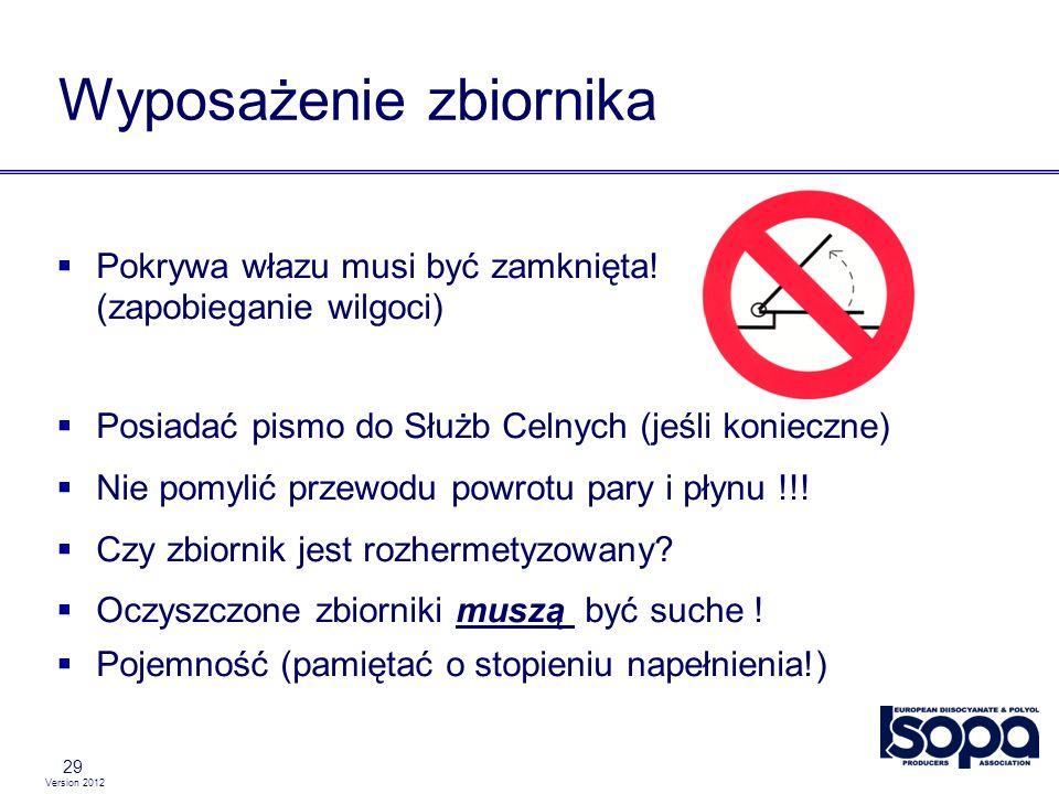 Version 2012 29 Wyposażenie zbiornika Pokrywa włazu musi być zamknięta! (zapobieganie wilgoci) Posiadać pismo do Służb Celnych (jeśli konieczne) Nie p