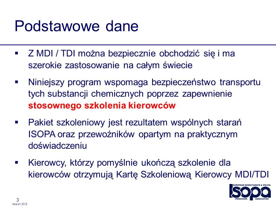 Version 2012 14 Wpływ MDI / TDI na zdrowie Długotrwałe / powtarzane nadmierne narażenie na kontakt poprzez oddychanie lub skórę prowadzi do ryzyka wystąpienia uczulenia Symptomy takie jak okazjonalne problemy z oddychaniem podobne do astmy, katar sienny, kichanie Jeśli pojawi się uczulenie, istnieje potencjalne niebezpieczeństwo wystąpienia ostrej astmy w przypadku nawet nieznacznego kontaktu z MDI/TDI Uczulenie uniemożliwia na całe życie pracę z izocyjanianami.