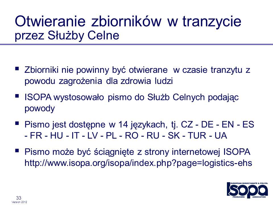 Version 2012 33 Otwieranie zbiorników w tranzycie przez Służby Celne Zbiorniki nie powinny być otwierane w czasie tranzytu z powodu zagrożenia dla zdr