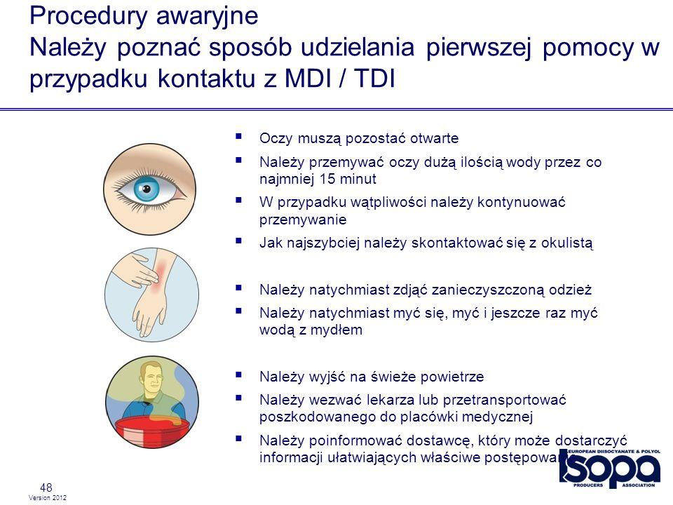 Version 2012 Procedury awaryjne Należy poznać sposób udzielania pierwszej pomocy w przypadku kontaktu z MDI / TDI 48 Oczy muszą pozostać otwarte Należ