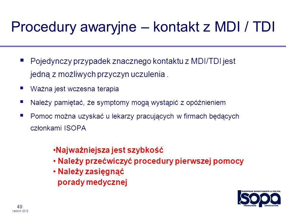 Version 2012 Procedury awaryjne – kontakt z MDI / TDI 49 Pojedynczy przypadek znacznego kontaktu z MDI/TDI jest jedną z możliwych przyczyn uczulenia.