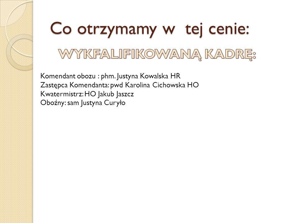 KOMENDANT OBOZU : Funkcje: Komendant szczepu (od 2005), drużynowa 22SDH (od IX.2003-X.2010) Stopień instruktorski: podharcmistrz Wiek: 26 lat Absolwentka 2010 : Collegium Medicum UJ, lek.med:):) Ukończone kursy i szkolenia: kurs komendantów szczepów Howgh (2008), kurs wychowawców kolonijnych (2004), kierowników placówek wypoczynku (2005), Kurs Kadry Kształcącej (2006), kurs BLS/AED (2008), 2 seminarium kom.