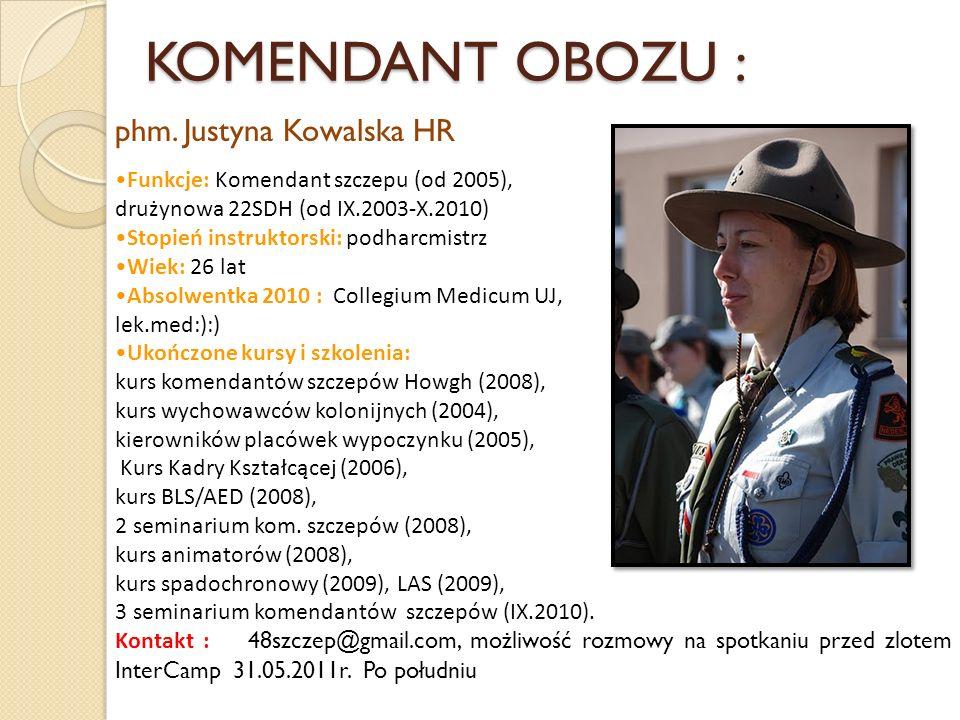 KOMENDANT OBOZU : Funkcje: Komendant szczepu (od 2005), drużynowa 22SDH (od IX.2003-X.2010) Stopień instruktorski: podharcmistrz Wiek: 26 lat Absolwen