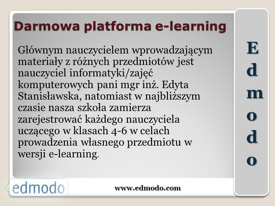 Darmowa platforma e-learning www.edmodo.com Głównym nauczycielem wprowadzającym materiały z różnych przedmiotów jest nauczyciel informatyki/zajęć komp