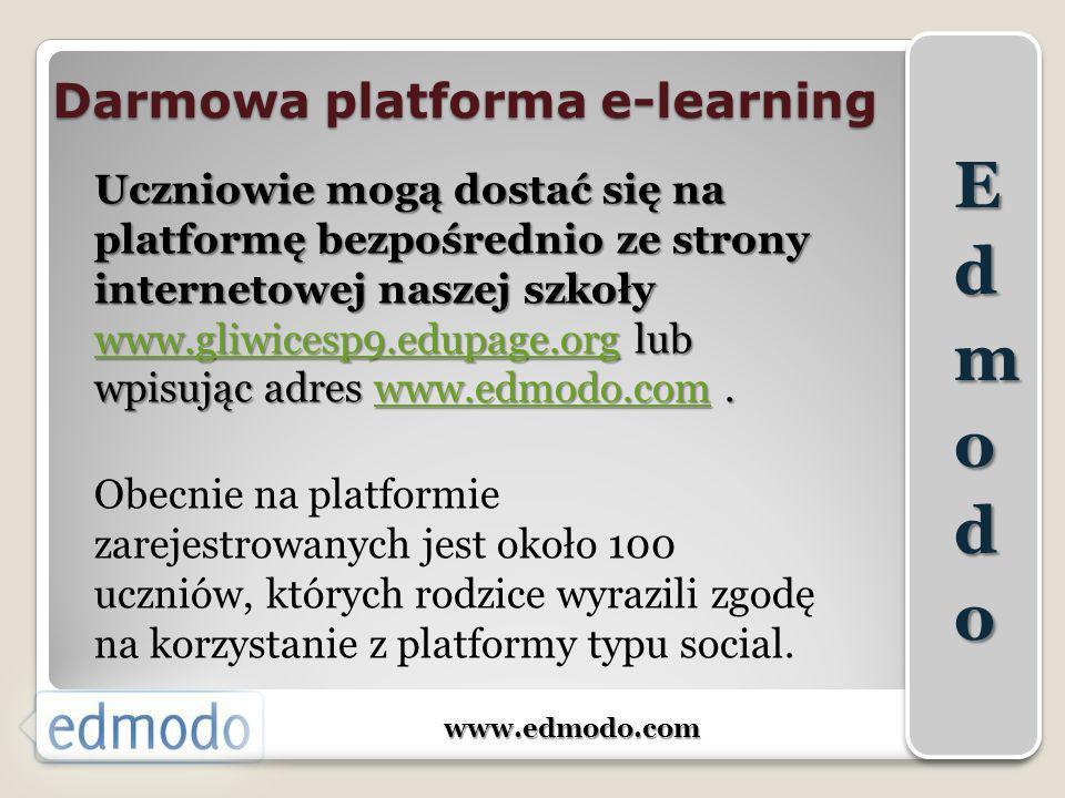Darmowa platforma e-learning www.edmodo.com Uczniowie mogą dostać się na platformę bezpośrednio ze strony internetowej naszej szkoły www.gliwicesp9.ed