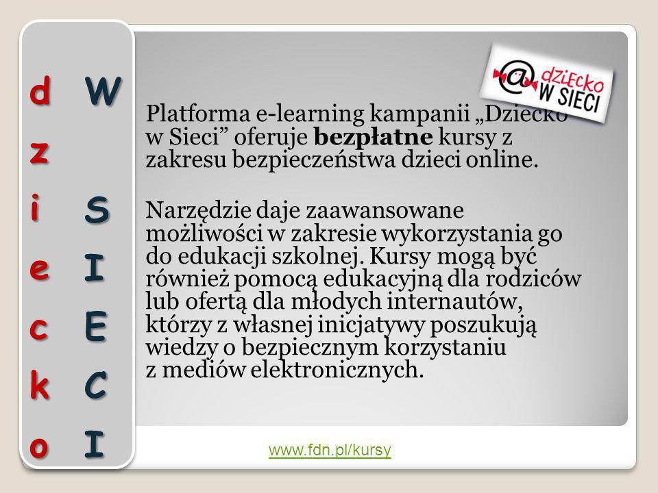 Platforma e-learning kampanii Dziecko w Sieci oferuje bezpłatne kursy z zakresu bezpieczeństwa dzieci online. Narzędzie daje zaawansowane możliwości w