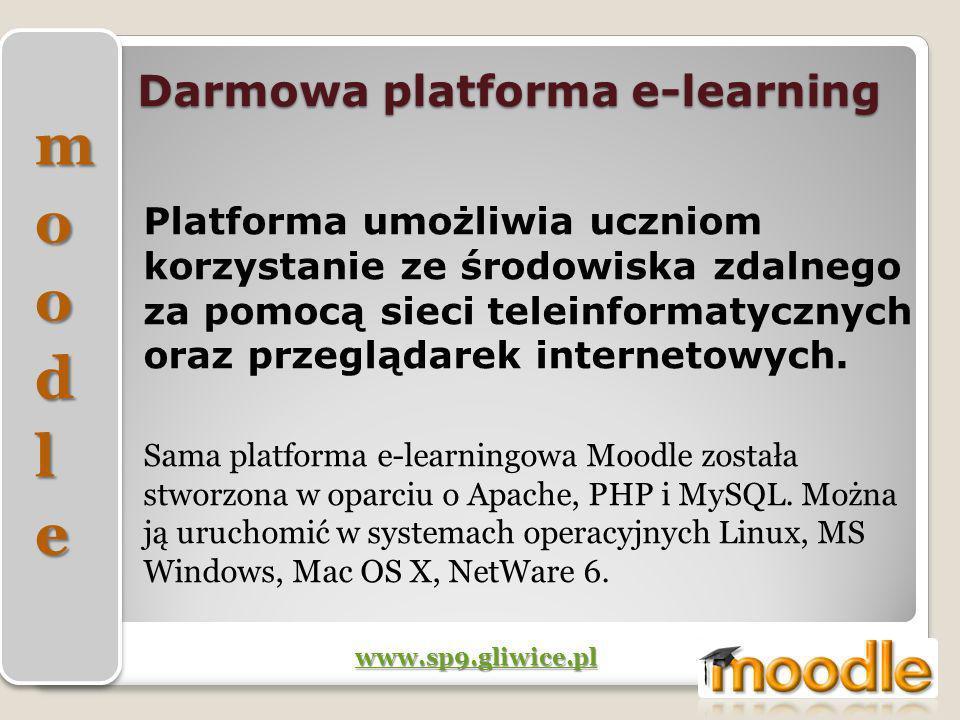 Darmowa platforma e-learning Platforma umożliwia uczniom korzystanie ze środowiska zdalnego za pomocą sieci teleinformatycznych oraz przeglądarek inte