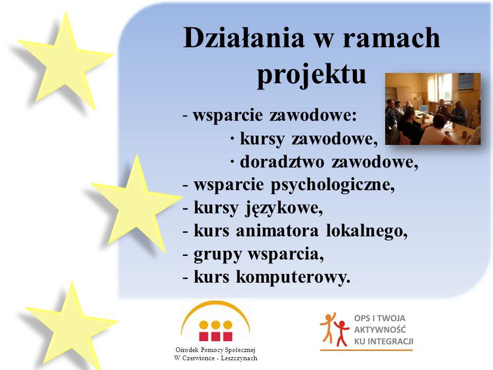 Działania w ramach projektu Ośrodek Pomocy Społecznej W Czerwionce - Leszczynach - wsparcie zawodowe: kursy zawodowe, doradztwo zawodowe, - wsparcie psychologiczne, - kursy językowe, - kurs animatora lokalnego, - grupy wsparcia, - kurs komputerowy.