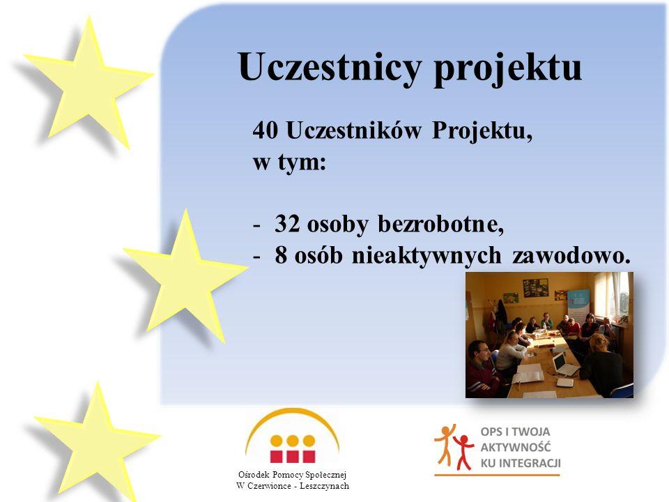 Uczestnicy projektu 40 Uczestników Projektu, w tym: - 32 osoby bezrobotne, - 8 osób nieaktywnych zawodowo.