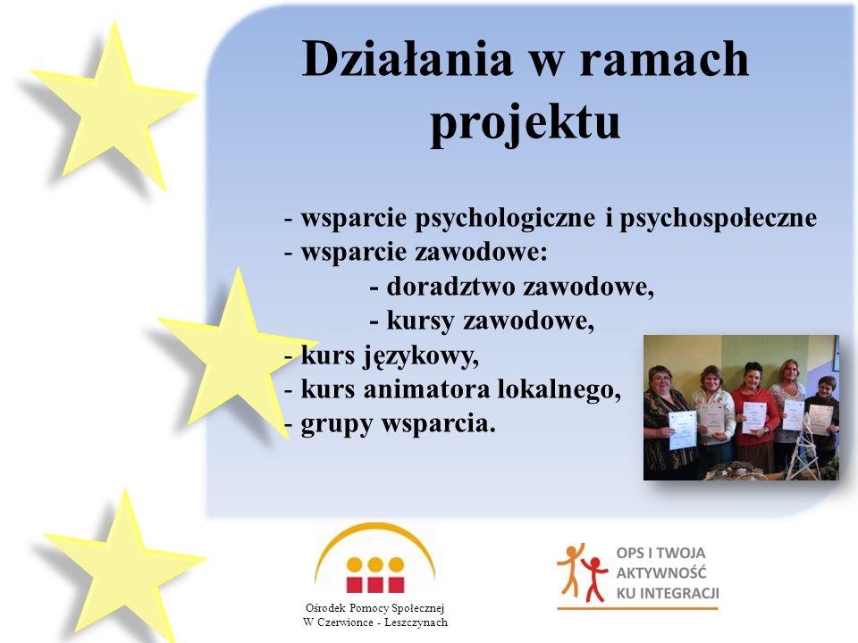 Działania w ramach projektu - wsparcie psychologiczne i psychospołeczne - wsparcie zawodowe: - doradztwo zawodowe, - kursy zawodowe, - kurs językowy, - kurs animatora lokalnego, - grupy wsparcia.