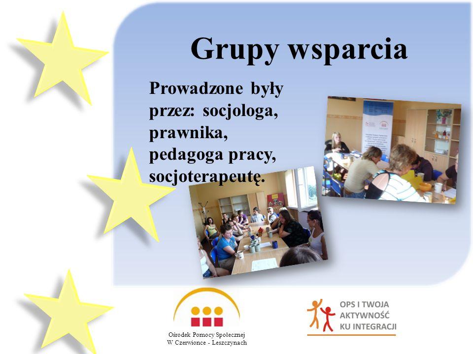 Ośrodek Pomocy Społecznej W Czerwionce - Leszczynach Grupy wsparcia Prowadzone były przez: socjologa, prawnika, pedagoga pracy, socjoterapeutę.