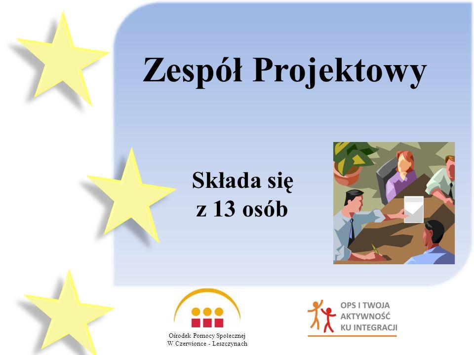 Ośrodek Pomocy Społecznej W Czerwionce - Leszczynach Zespół Projektowy Składa się z 13 osób