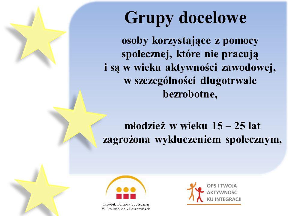 Grupy docelowe Ośrodek Pomocy Społecznej W Czerwionce - Leszczynach osoby korzystające z pomocy społecznej, które nie pracują i są w wieku aktywności zawodowej, w szczególności długotrwale bezrobotne, młodzież w wieku 15 – 25 lat zagrożona wykluczeniem społecznym,