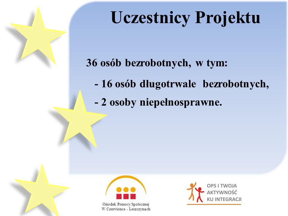 Uczestnicy Projektu Ośrodek Pomocy Społecznej W Czerwionce - Leszczynach 36 osób bezrobotnych, w tym: - 16 osób długotrwale bezrobotnych, - 2 osoby niepełnosprawne.